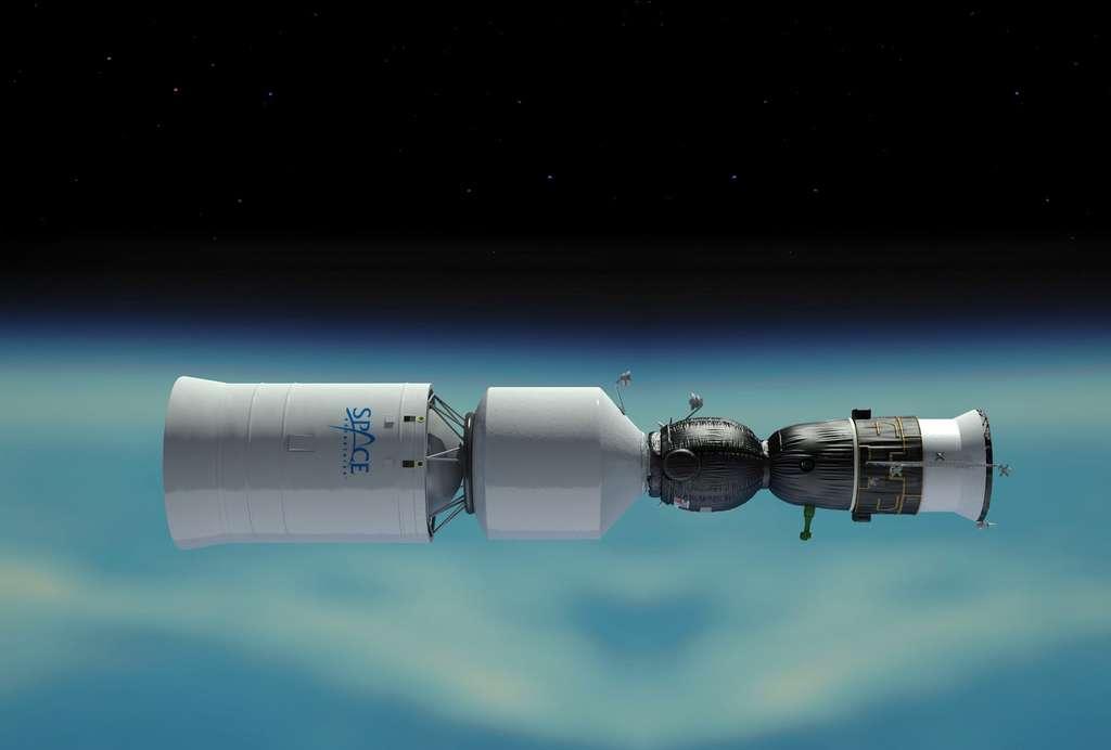 Soyouz lunaire (avec son étage d'injection vers la lune) envisagé par Roscosmos et Space Adventures. © Space Adventures/Roscosmos.