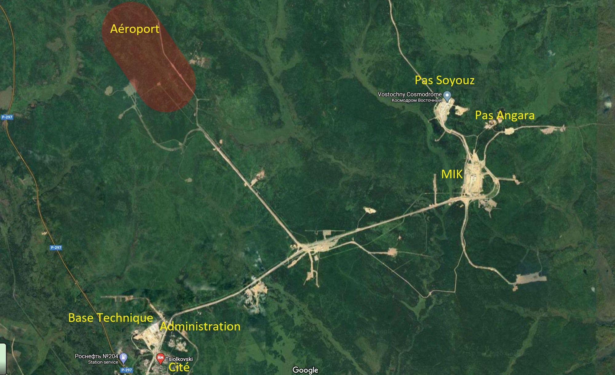 La localisation de l'aéroport au cosmodrome Vostochny.
