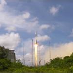 Lancement d'une fusée Soyouz ST depuis Kourou.
