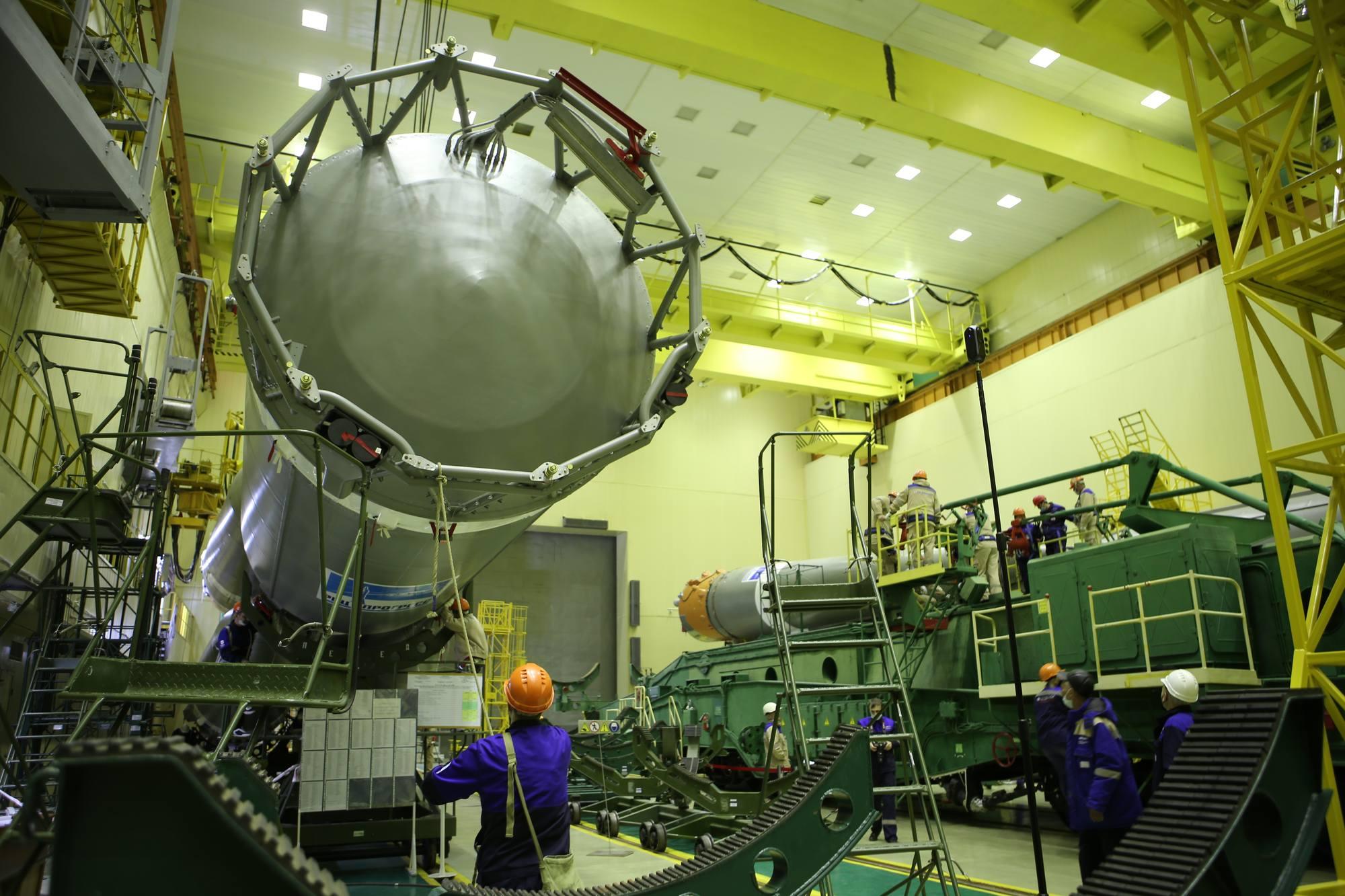 La partie inférieure du lanceur Soyouz 2.1a.