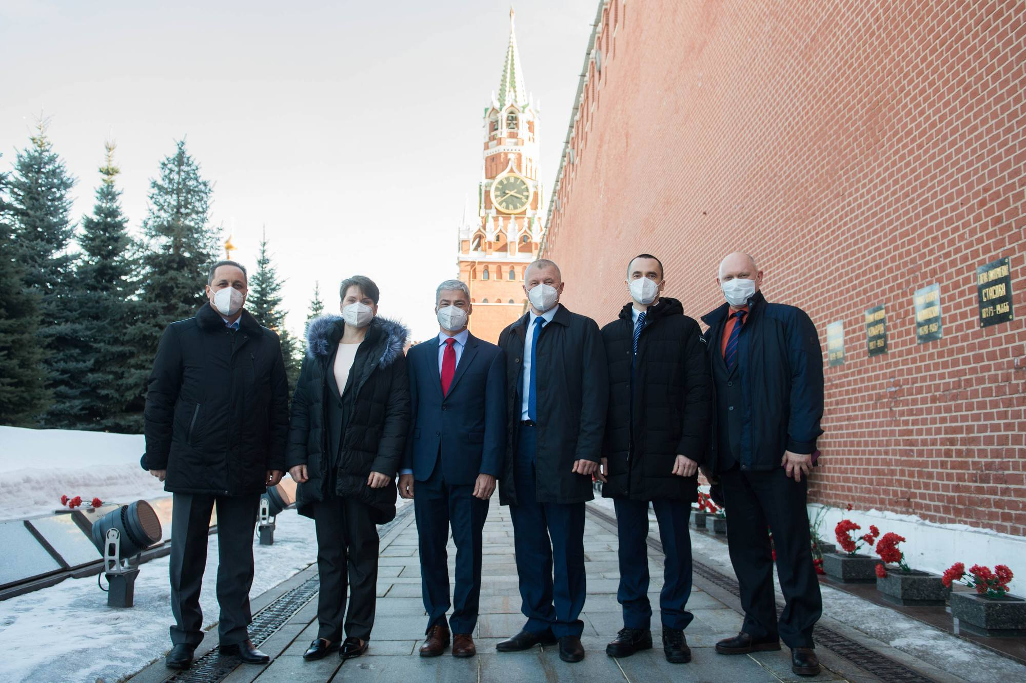 Au mur du Kremlin de Moscou.