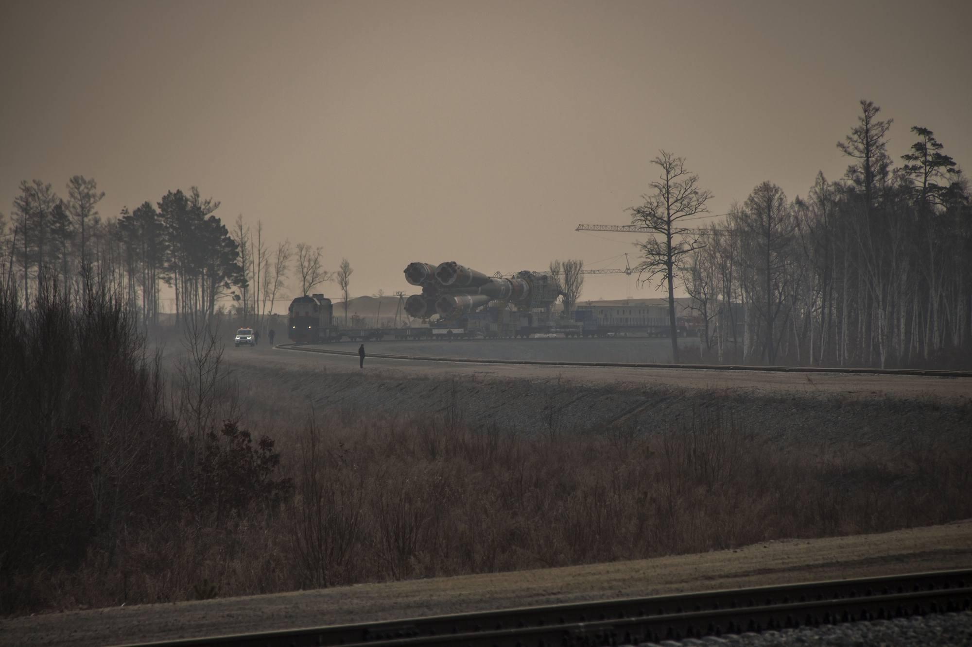 Il ne fait pas très beau sur Vostochny  en début de matinée sur le cosmodrome.