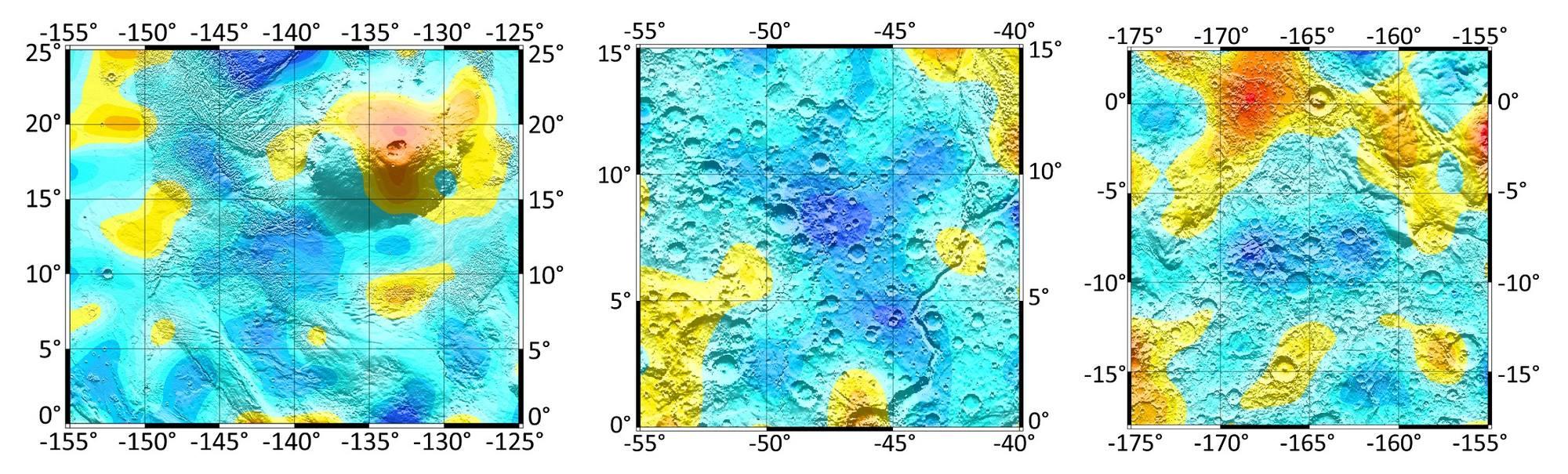 Trois zones d '«oasis» équatoriales à forte teneur en eau, obtenues avec une haute résolution spatiale sur la base du traitement conjoint des données de mesure des instruments HEND et FREND (vaisseau spatial TGO, mission ExoMars-2016). De gauche à droite - les zones du volcan Olympus, Xanthus land et Medusa sillons. La teneur en eau dans ces zones peut atteindre 80% en poids.