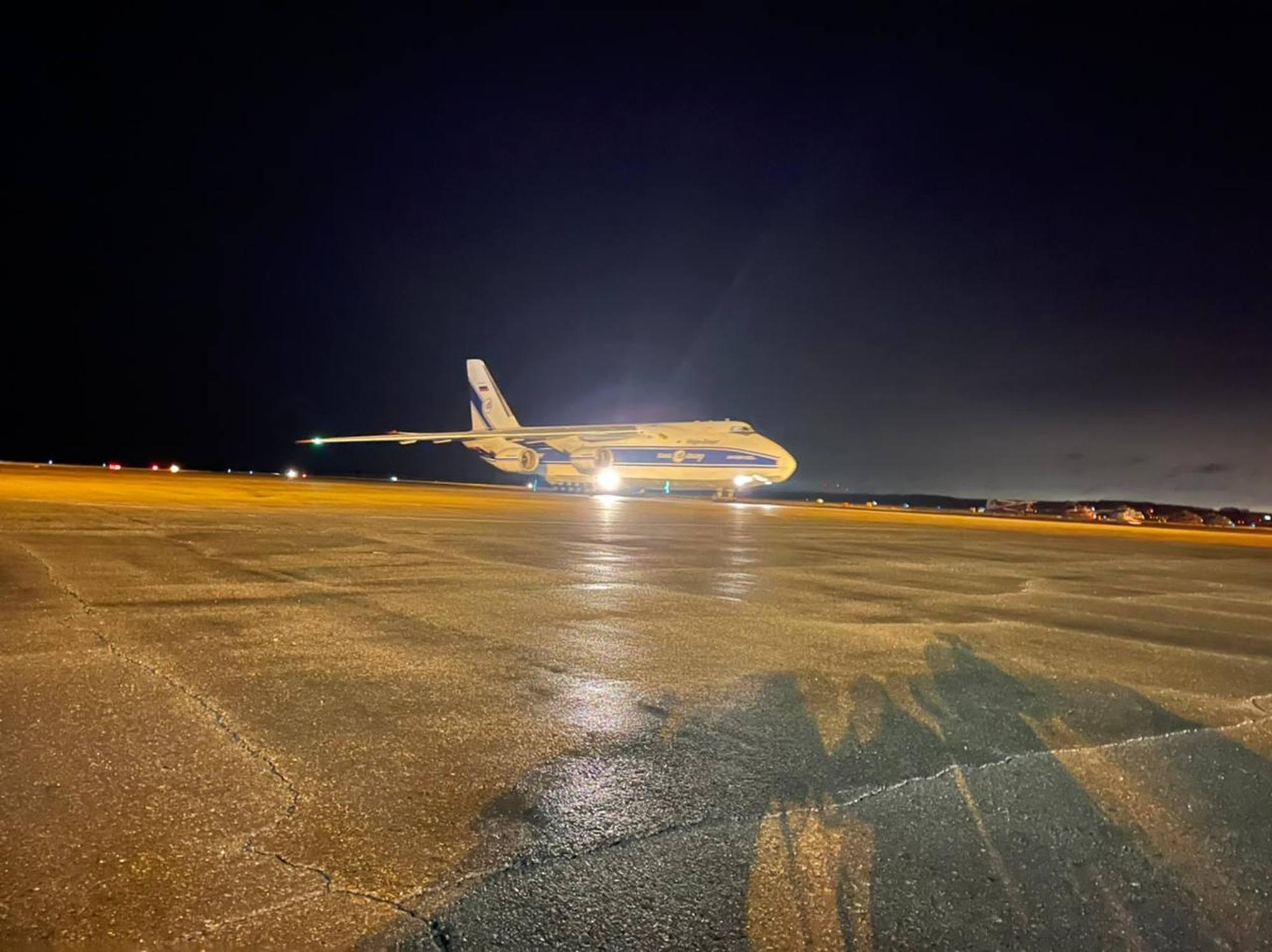 L'arrivée de l'Antonov 124-100 Rouslan à l'aéroport d'Ignatievo de Blagovechensk.