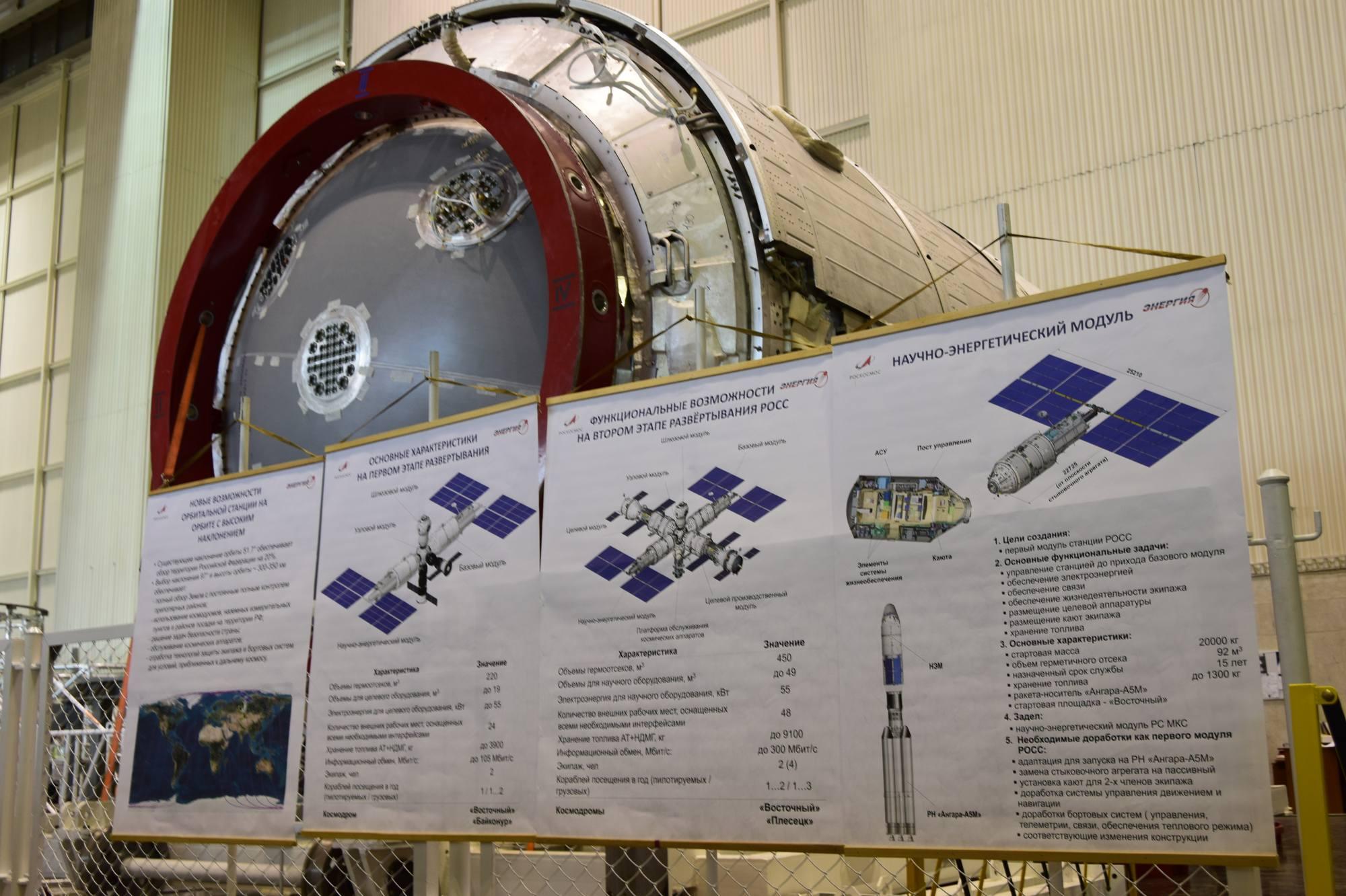 Les posters concernant la station ROSS devant un modèle du module NEM dans les locaux d'Energuya.
