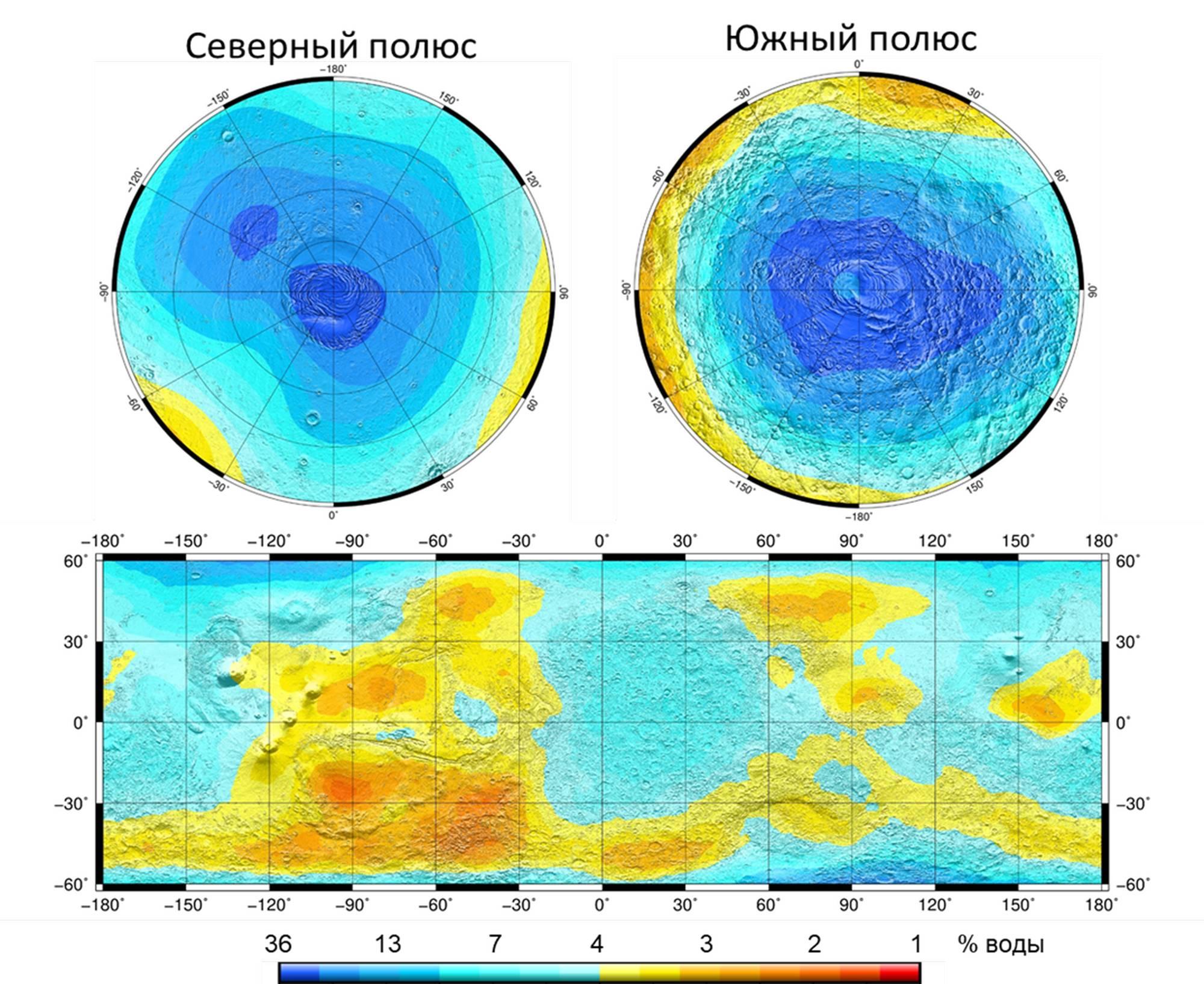 Cartes de rayonnement neutronique de Mars selon l'instrument HEND. En bas: carte allant de 60 ° de latitude nord à 60 ° de latitude sud; en haut: cartes des régions polaires de pergélisol glacé. L'échelle de couleur correspond aux estimations de la fraction massique d'eau dans le sol de Mars.