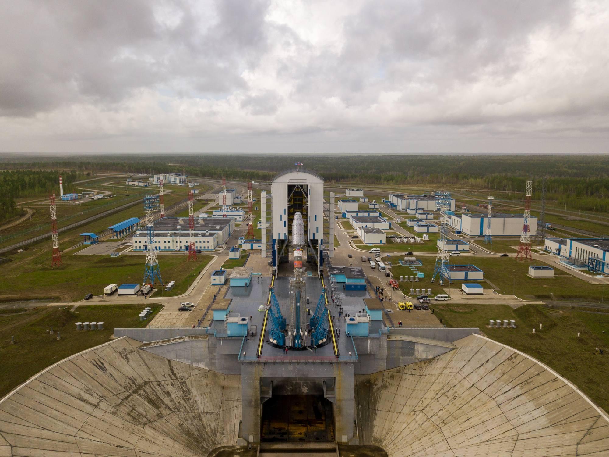 Le lanceur Soyouz 2.1b sur le pas de tir le 24 mai 2021.