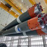 Les premier et second étages du lanceur Soyouz assemblés en paquet ou faisceau.