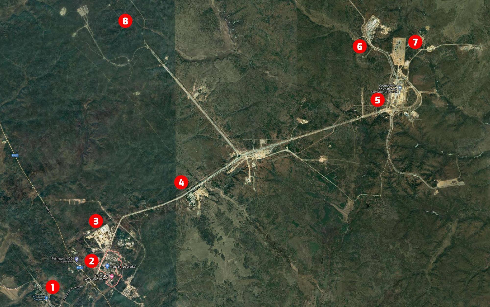 La carte (GoogleMaps et Kosmosnews.fr) de la zone du cosmodrome de Vostochny.