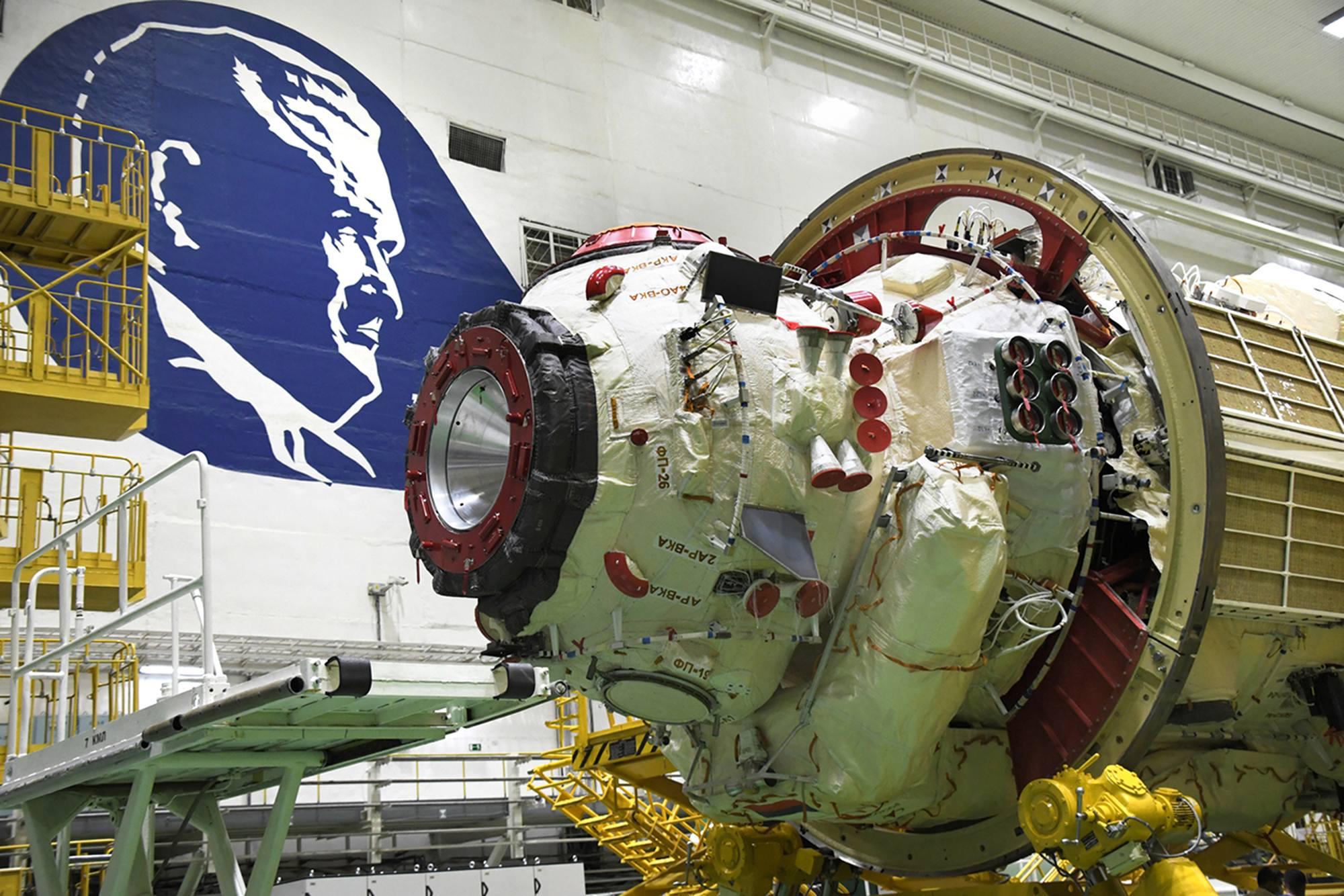 Zoom sur l'arrière du module Naouka qui pointera vers la Terre.