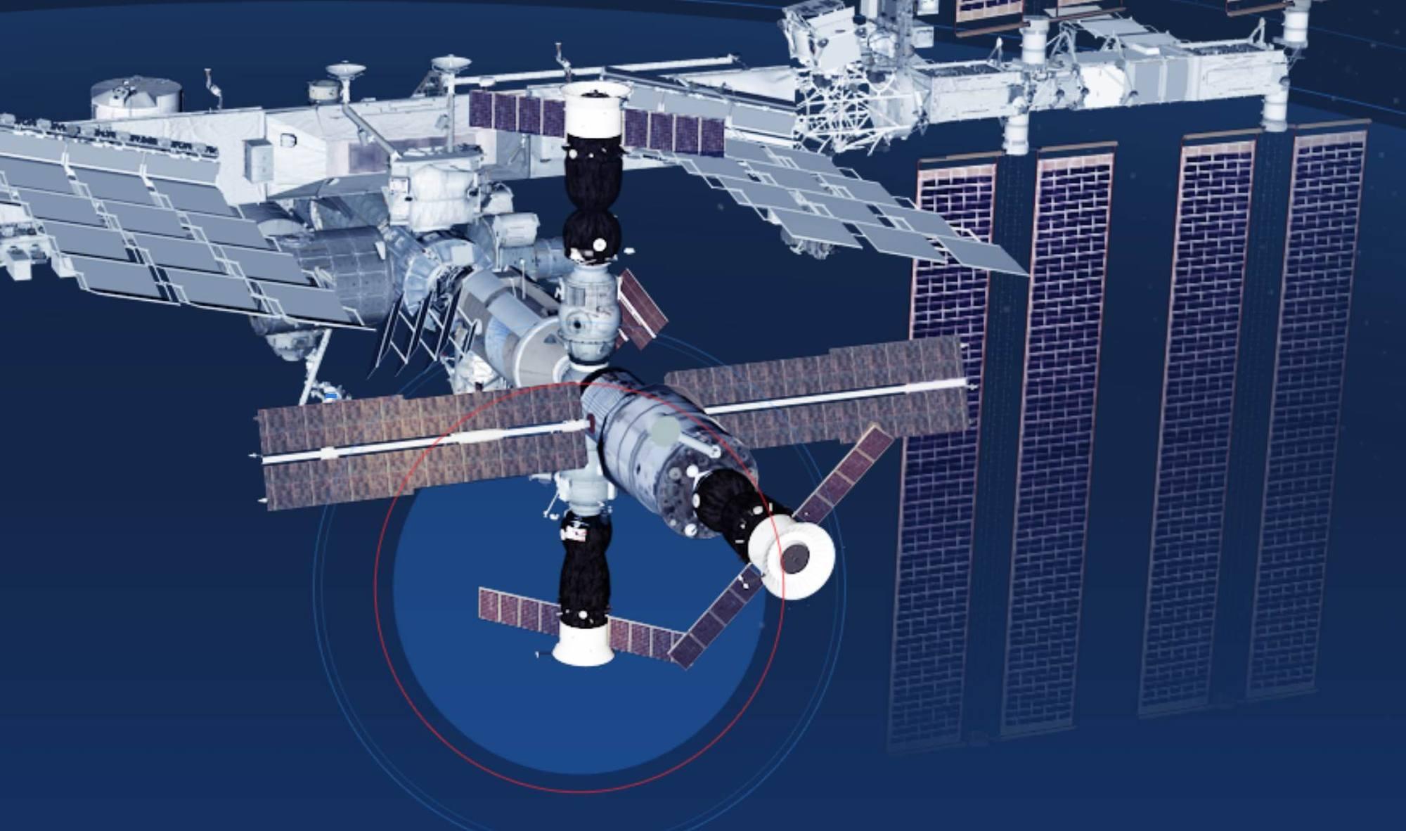 L'ISS et la partie russe de la station.