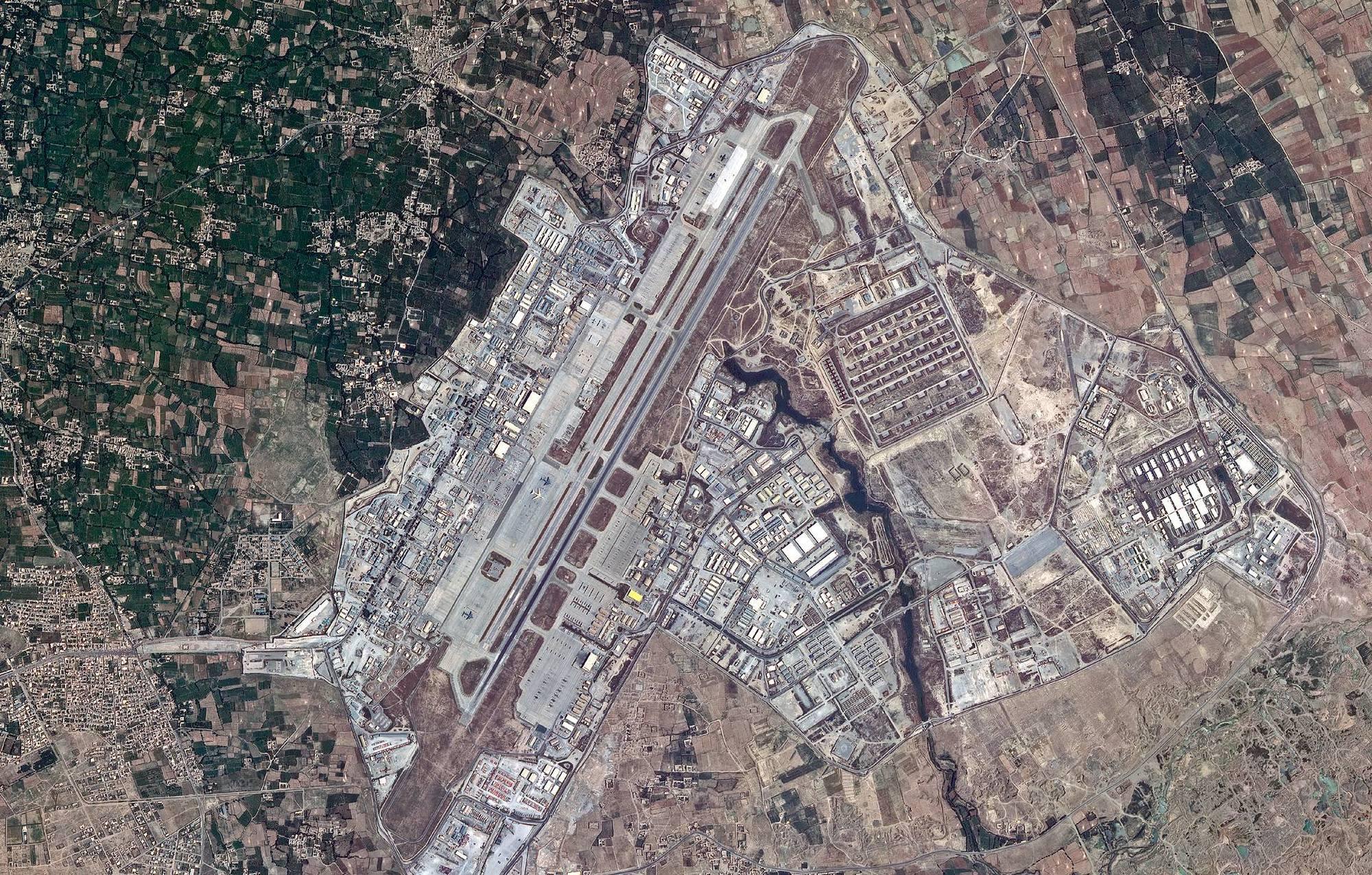 La base aérienne de Bagram en Afghanistan, d'où les troupes américaines ont été retirées.