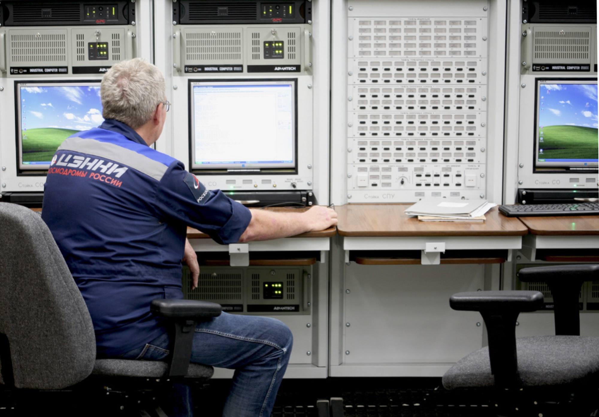 La salle de contrôle du pas n°200 à Baïkonour.