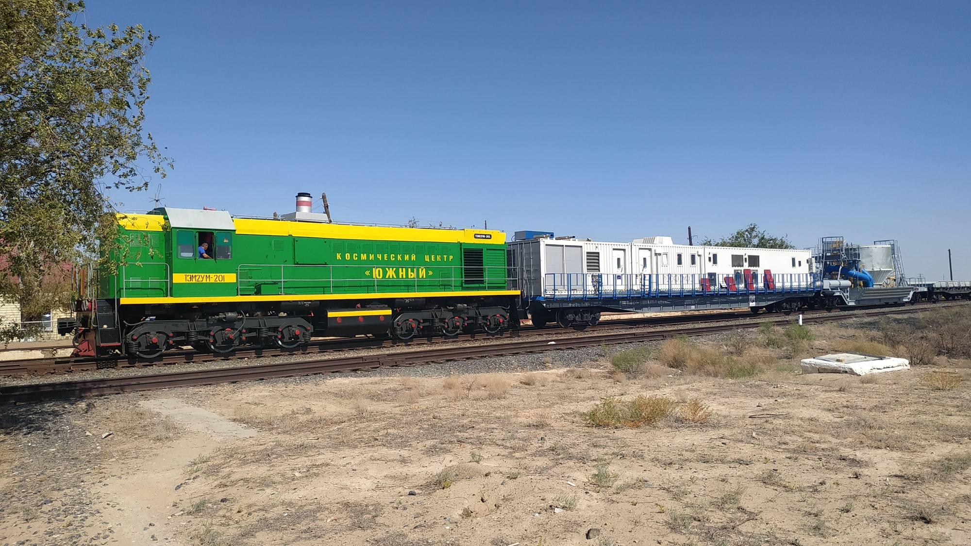 Locomotive diesel pour ce convoi ferroviaire.