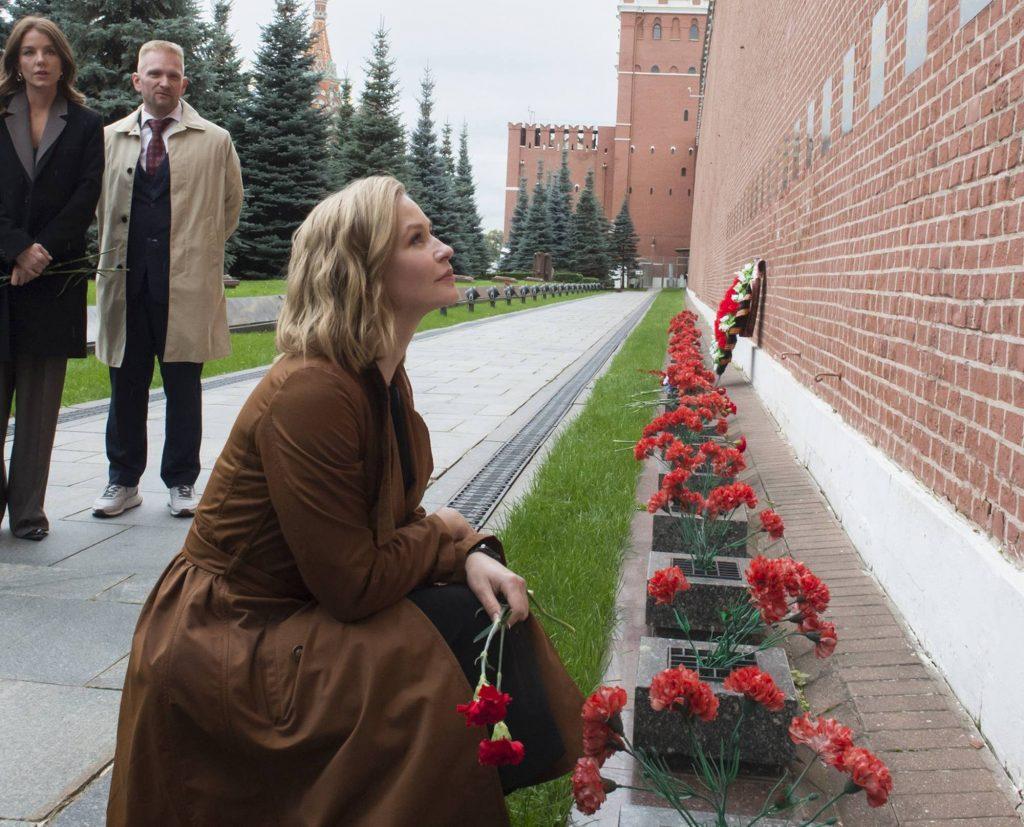 Youlia Peresild au Mur du Kremlin.