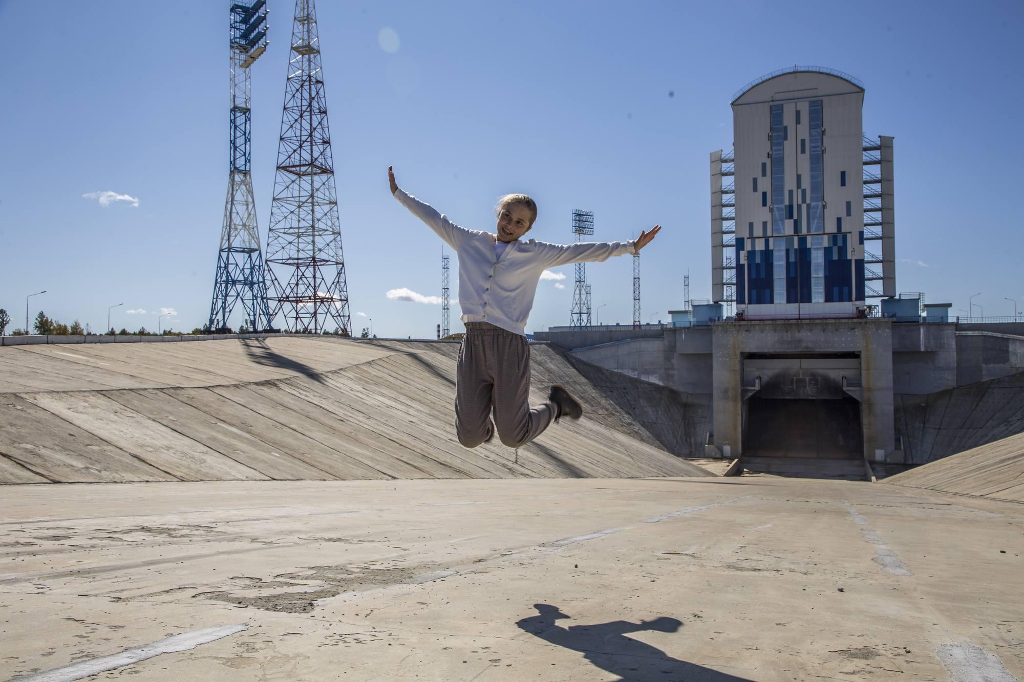 Dans la tranchée d'évacuation des gaz du pas de lancement 1S du cosmodrome de Vostochny.